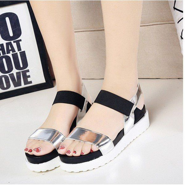 993a230461c Pure Color Peep Toe Color Match Slip On Elastice Flat Sandals in ...