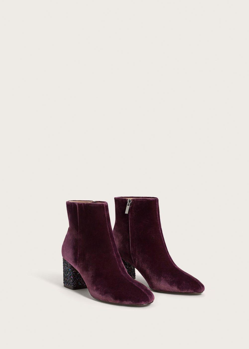 MANGO Glitter heel velvet ankle boot