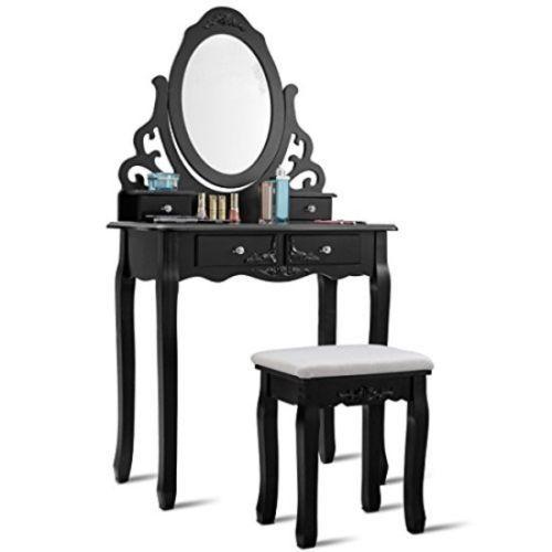 details about black wooden vanity table set 4 drawer mirrored rh pinterest com