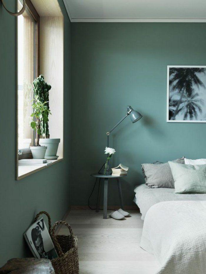 Peinture Glycéro, Peinture Gris Vert Dans Une Chambre à Coucher Simple
