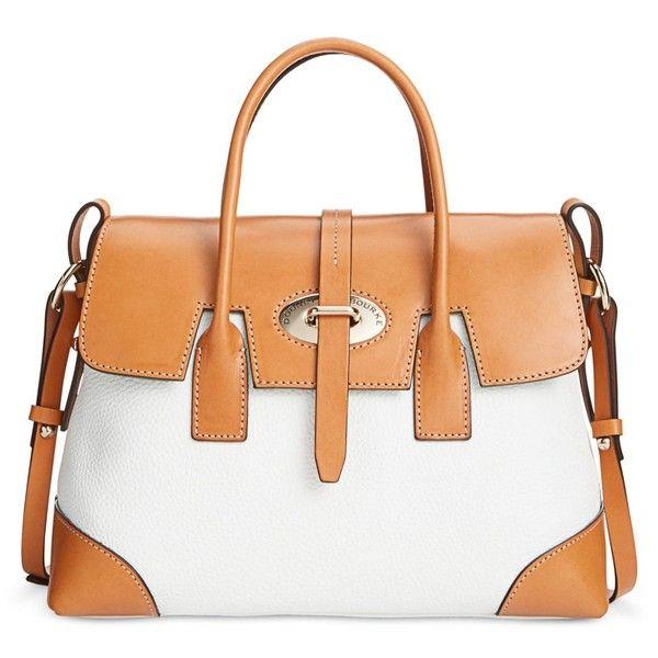 Dooney & Bourke Verona Bionda Elisa Satchel ($298) ❤ liked on Polyvore featuring white, color block handbag, structured handbag, dooney bourke handbags, structured satchel handbag and white satchel