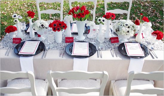 Table Setting Red Wedding Decorations White Wedding Decorations Red And White Weddings
