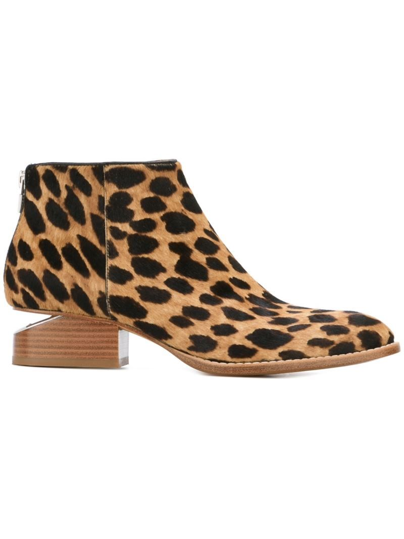 c4a8f0448 Alexander Wang 'Kori' leopard print ankle boots, Women's, Size: 39,  Nude/Neutrals, Leather/Calf Hair/rubber