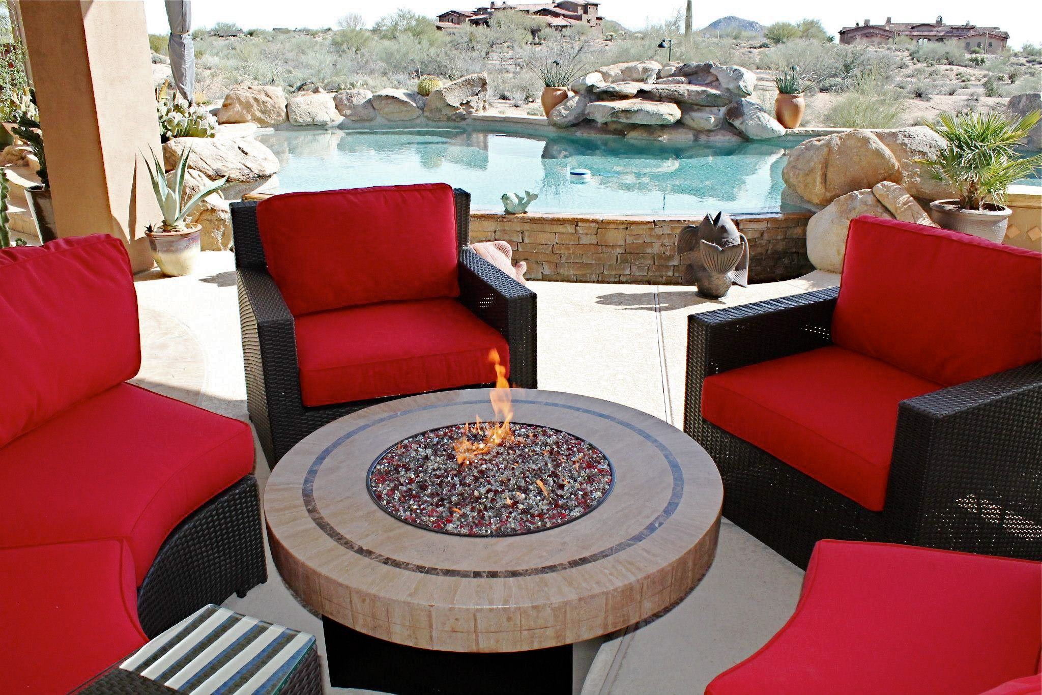 Oriflamme Gas Fire Pit With Curved Conversation Seating By  Allbackyardfun.com