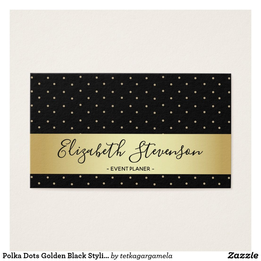 Polka Dots Golden Black Stylish Modern Glam Fancy Business Card