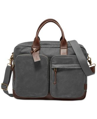 589ef849b1 Fossil Men s Waxed Canvas Defender Workbag