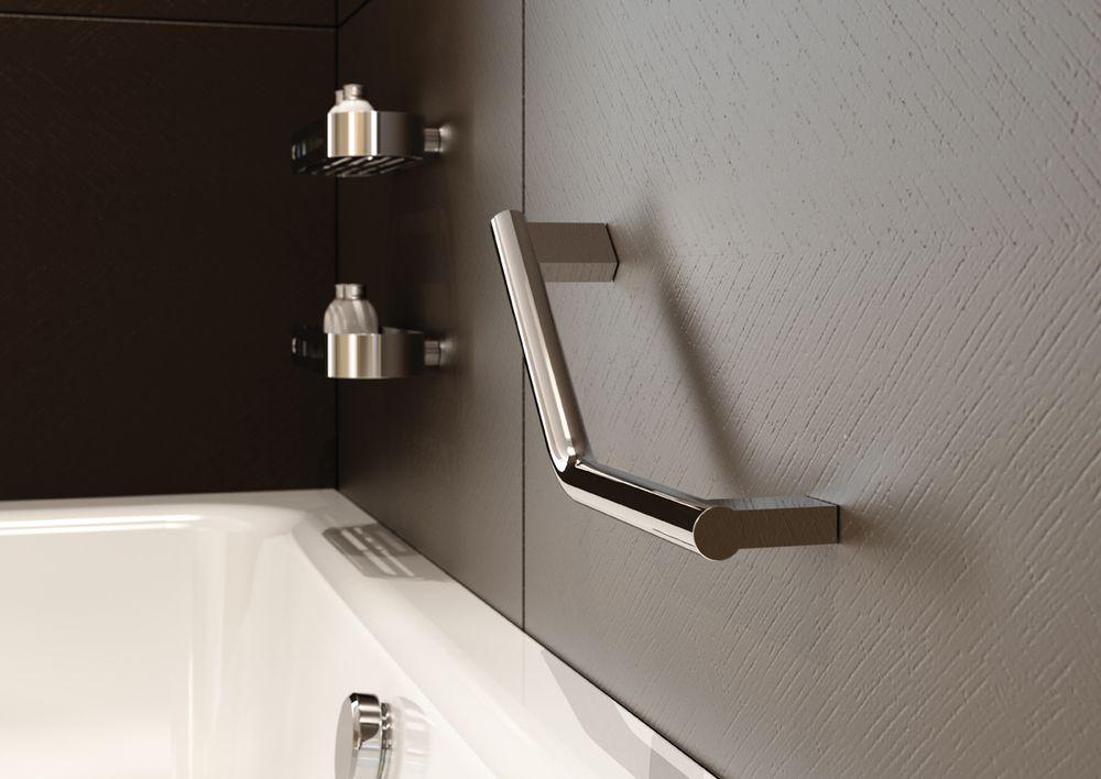 Image of Lux Angled Bathroom Grab Rail  Master Bath  Shower grab bar Bathroom grab rails