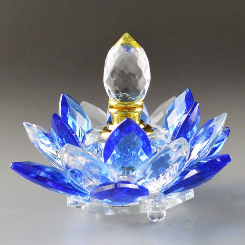 100mm Blue Quartz Crystal Glass Lotus Flower Perfume Bottle With