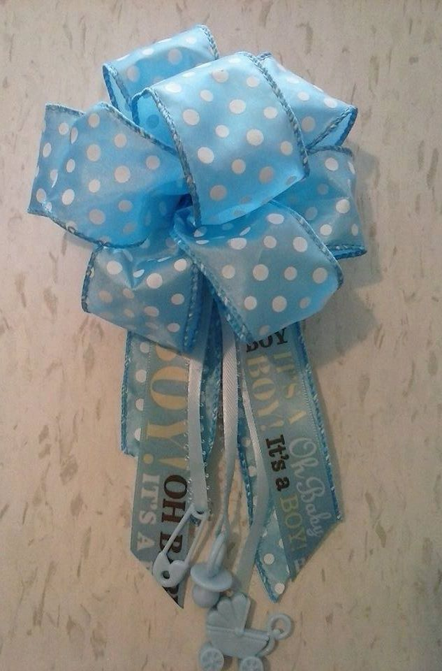 Baby Boy Baby Shower Corsage Blue Mom To Be Ribbon With Charms