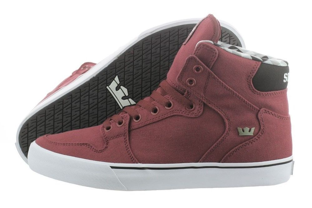 d2b3e38533ce SUPRA VAIDER BURGUNDY WHITE CANVAS SUPRAFOAM SKATEBOARDING SHOES MEN Sz 12  EUC  Supra  Skateboarding