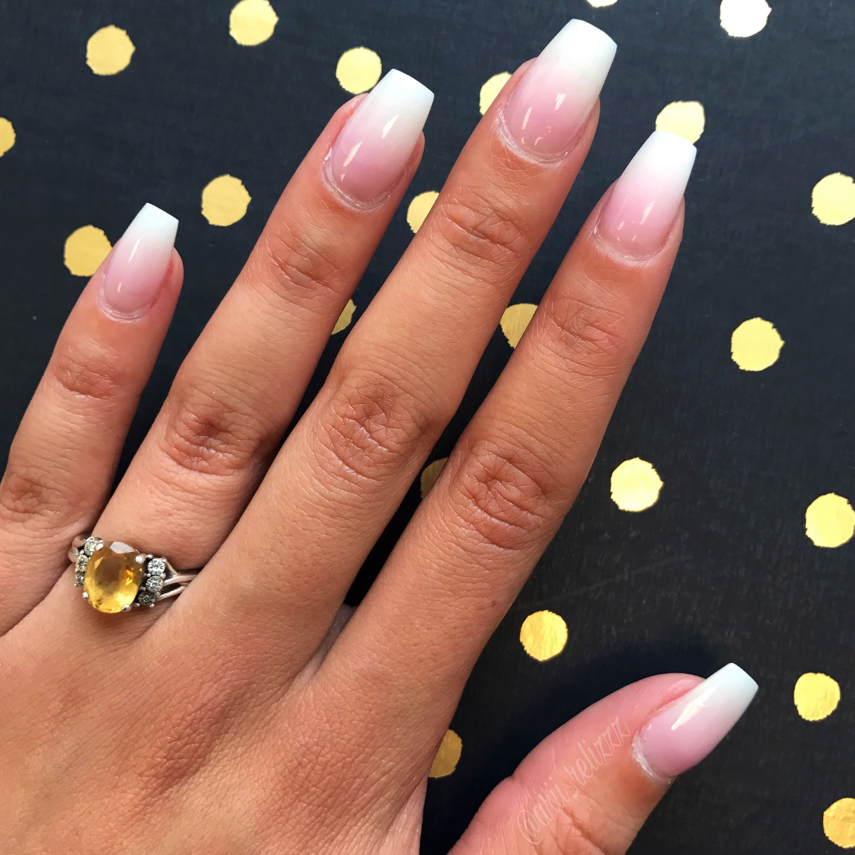 Ombre Pink And White Coffin Nails