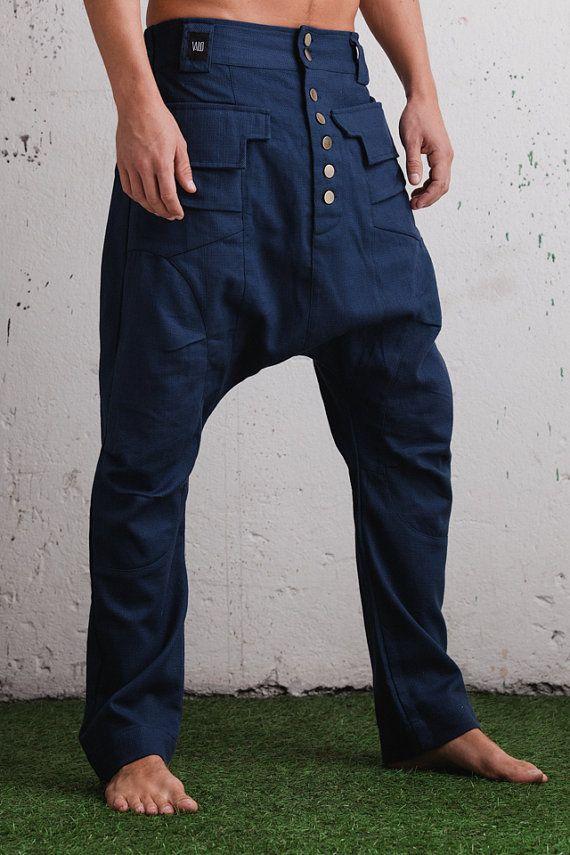 Elegant Slim Leg Drop Crotch Harem Pants Drop Crotch Jeans Men Slim Leg Drop Crotch Trousers Low Crotch Pants Women Blue Black Color Pantalones De Hombre Estilo