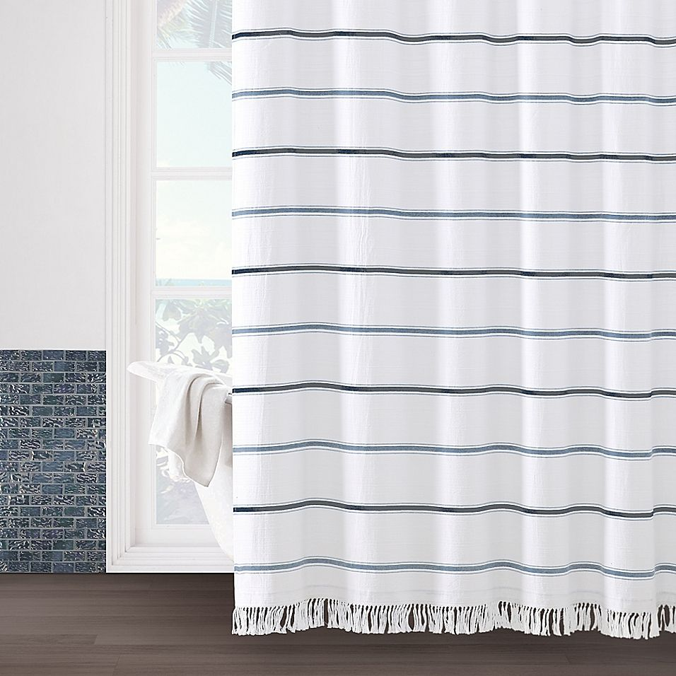 Naomi 72 X 96 Shower Curtain In White Blue Shower Curtains