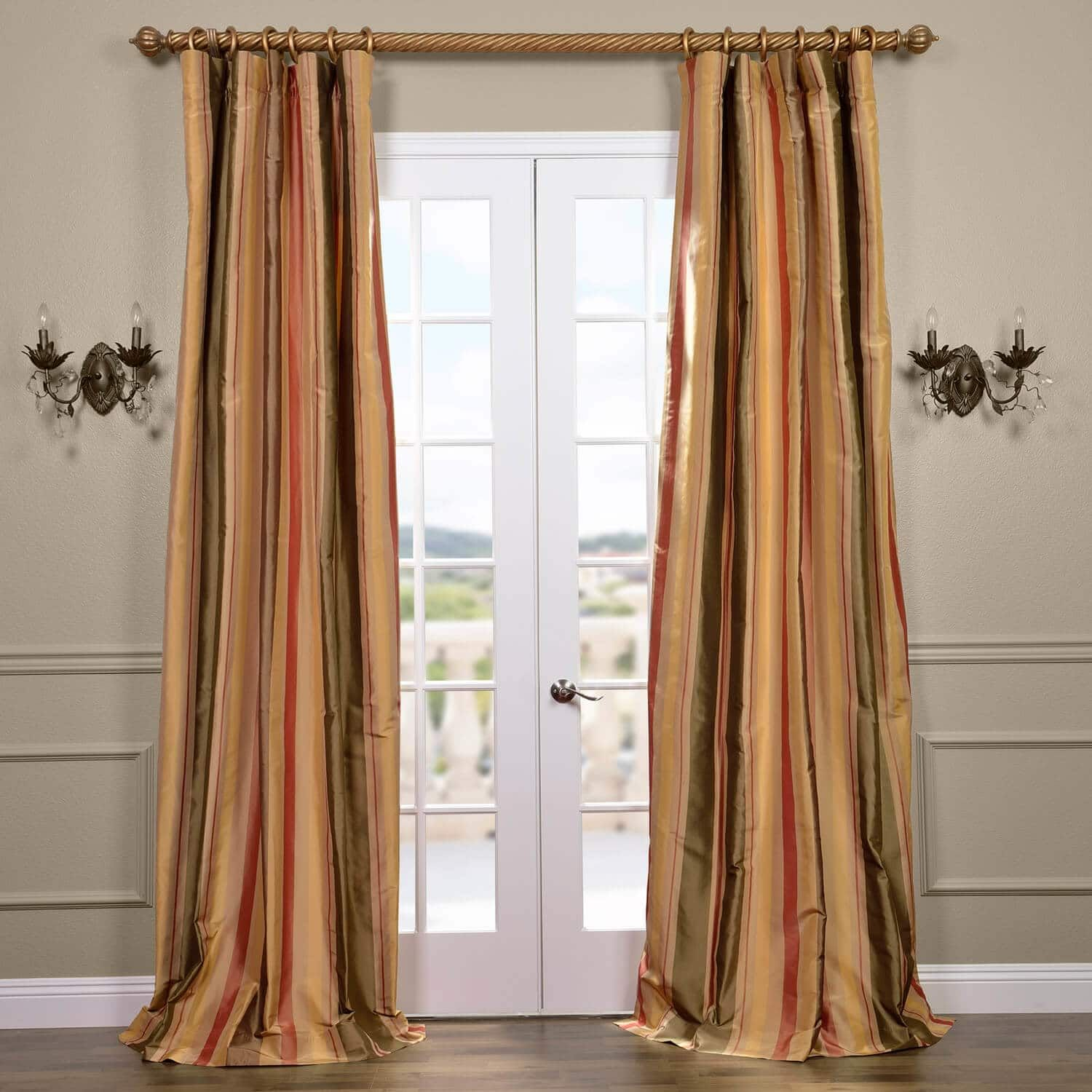 Buy Pacific Heights Silk Stripe Curtains Drapes Drapes Curtains