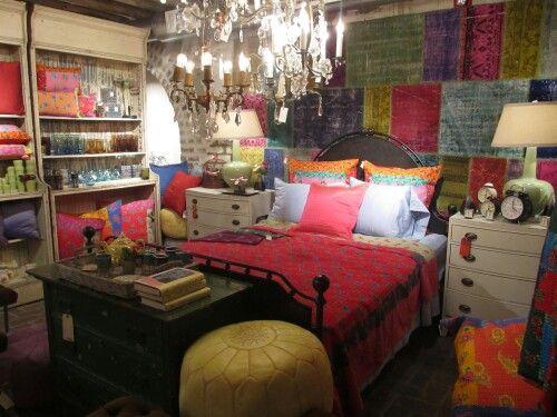 Beautiful bedroom and chandelier.