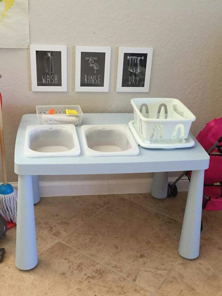 Montessori Style Washing Station All With Ikea Supplies Montessori Classroom Layout Montessori Practical Life Montessori Toddler