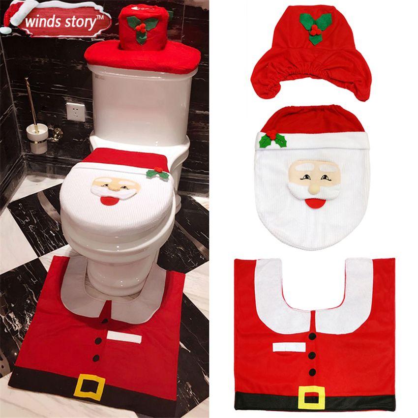 Copri Wc Babbo Natale.Decorazioni Di Natale Bagno Wc Rosso Di Babbo Natale Toilet Seat