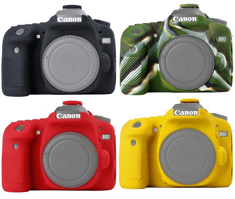 Silicone Rubber Protective Body Cover Case Skin For Canon EOS 70D Camera Black