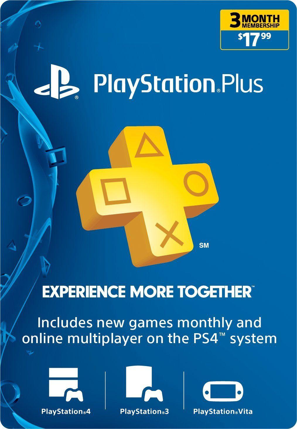 3Month Playstation Plus Membership PS3/ PS4/ PS Vita
