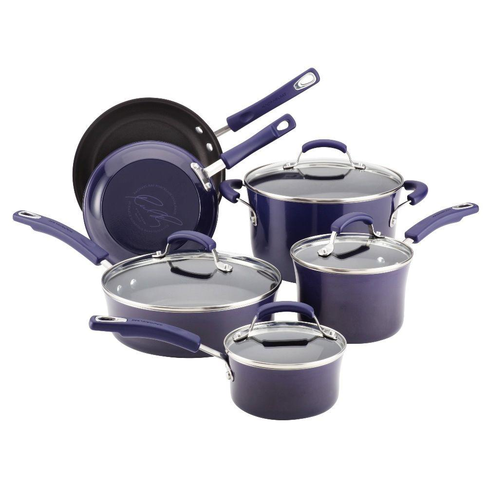 Rachael Ray Porcelain Ii 10 Piece Set In Purple 12800 Cookware