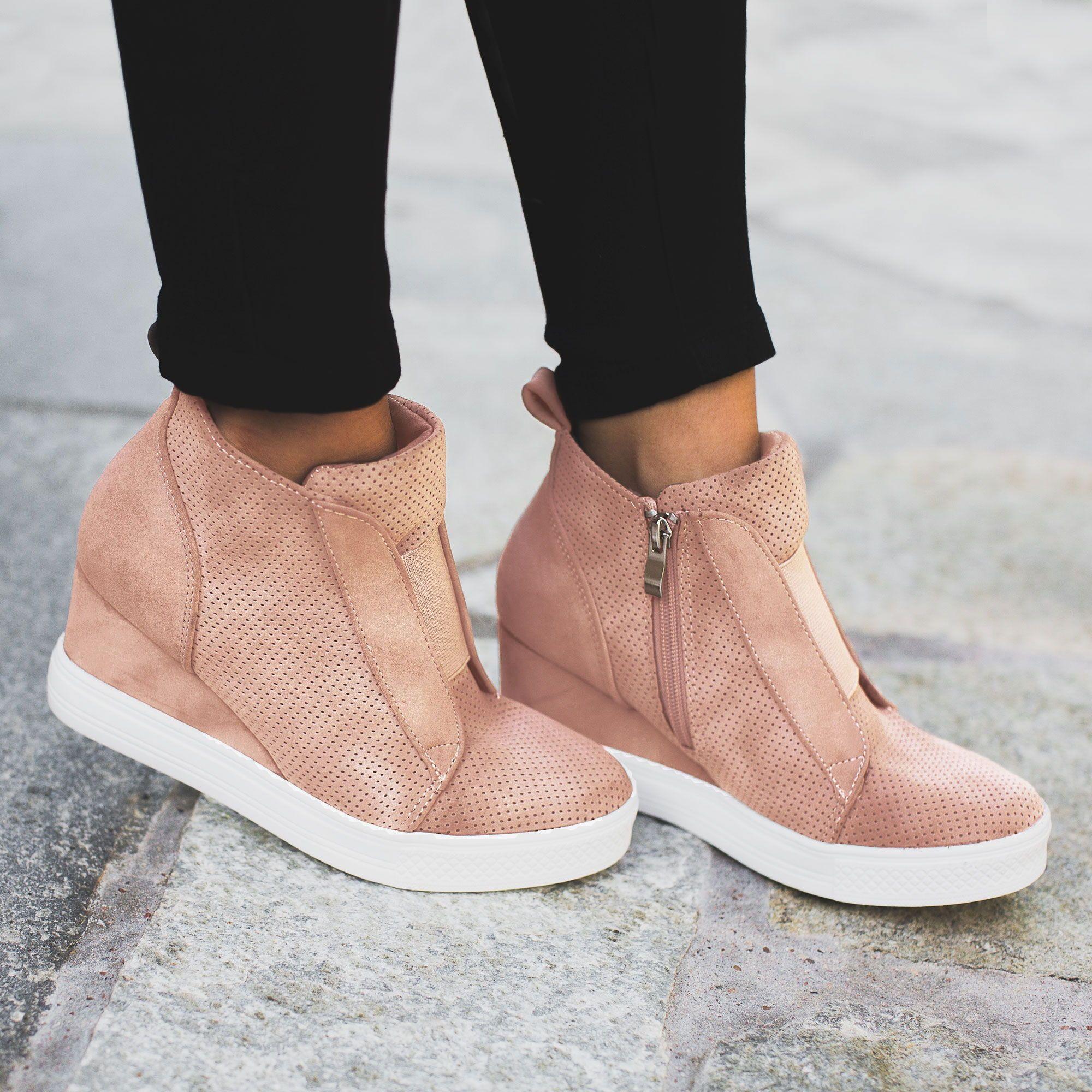 All Day Blush Slip On Wedge Sneaker