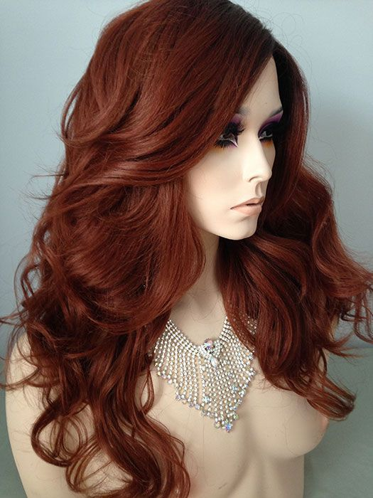 auburn hair colors and styles chic bouncy wavy lace front wig color brown 5736