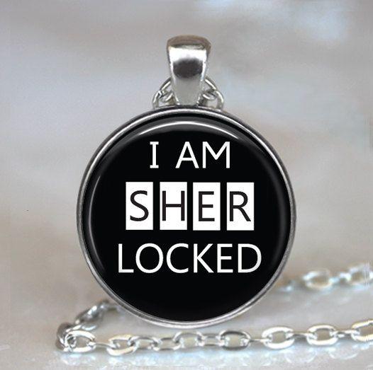 I am Sherlocked necklace, Sherlocked pendant, Sherlock Holmes jewelry, Sherlock Holmes necklace, Sherlock pendant key chain key ring