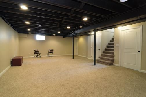 Spray Paint Basement Ceiling Black Basement In 2019 Unfinished