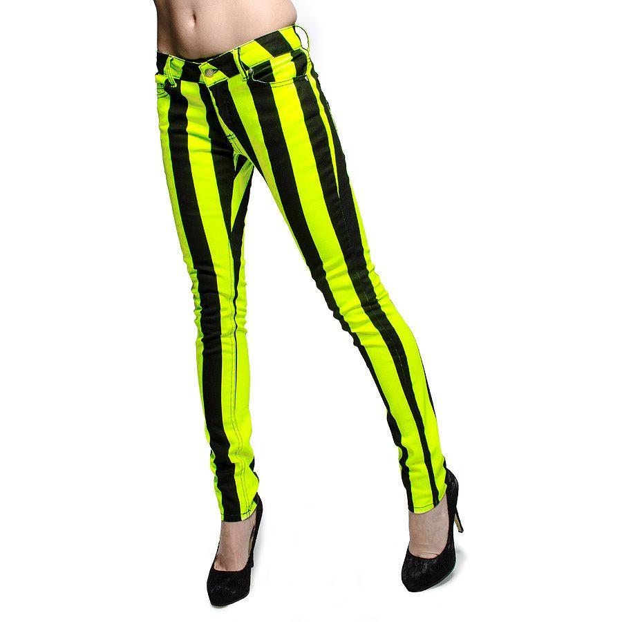 Bleeding heart ultra skinny stripes jeans uv lemon fashion