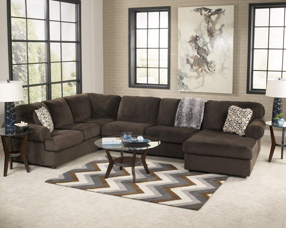 Jessa Place Chocolate 3 Piece Sectional - Living Room Furniture My - Brown Couch Living Room