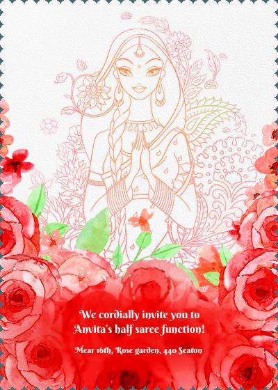 We Cordially Invite You To Medha S Half Saree Function 1230pm Crowne Plaza Old Ai Half Saree Function Invitation Card Design Caricature Wedding Invitations