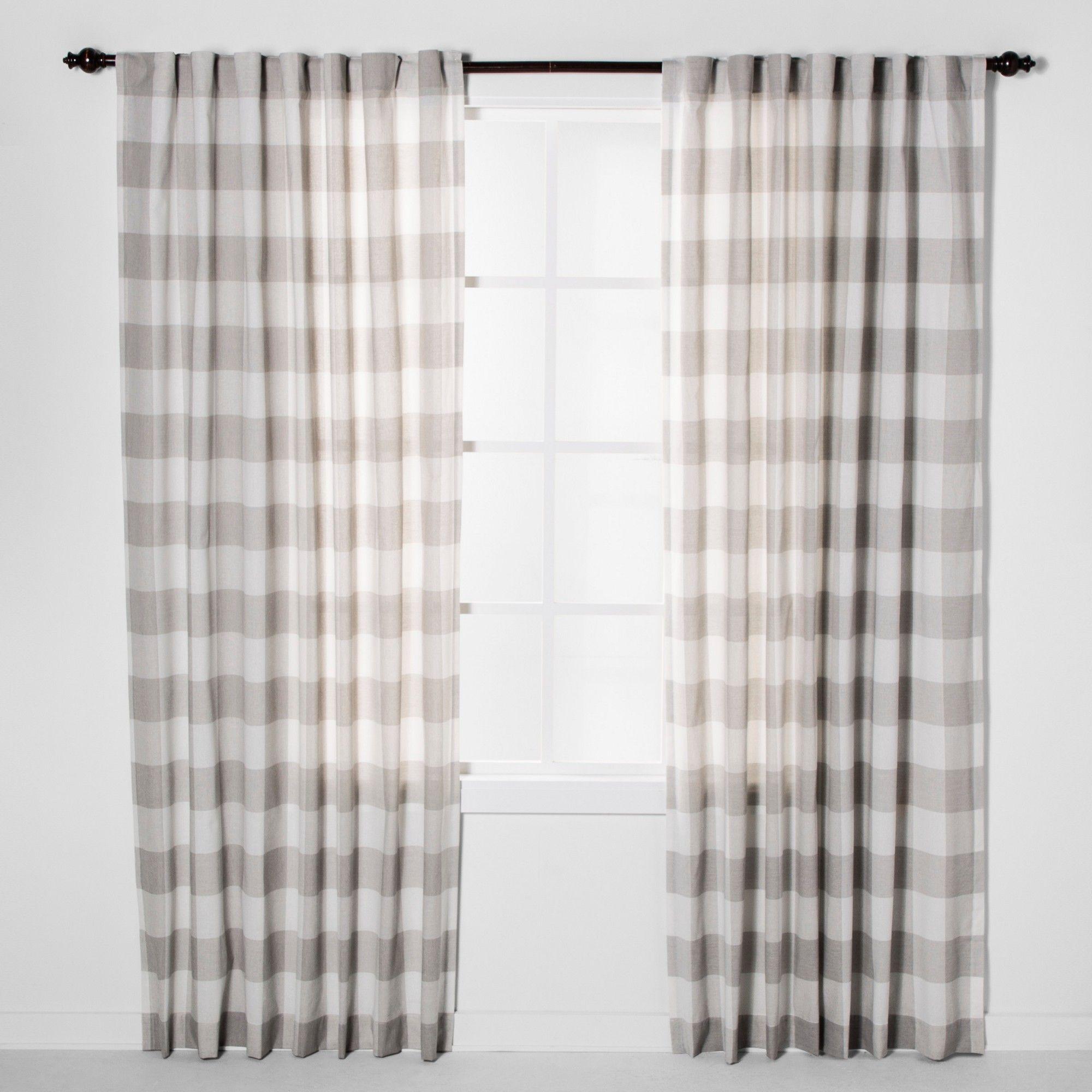 84 X54 Plaid Light Filtering Window Curtain Panel Cream Light Gray Threshold Panel Curtains Living Room Decor Curtains Curtains