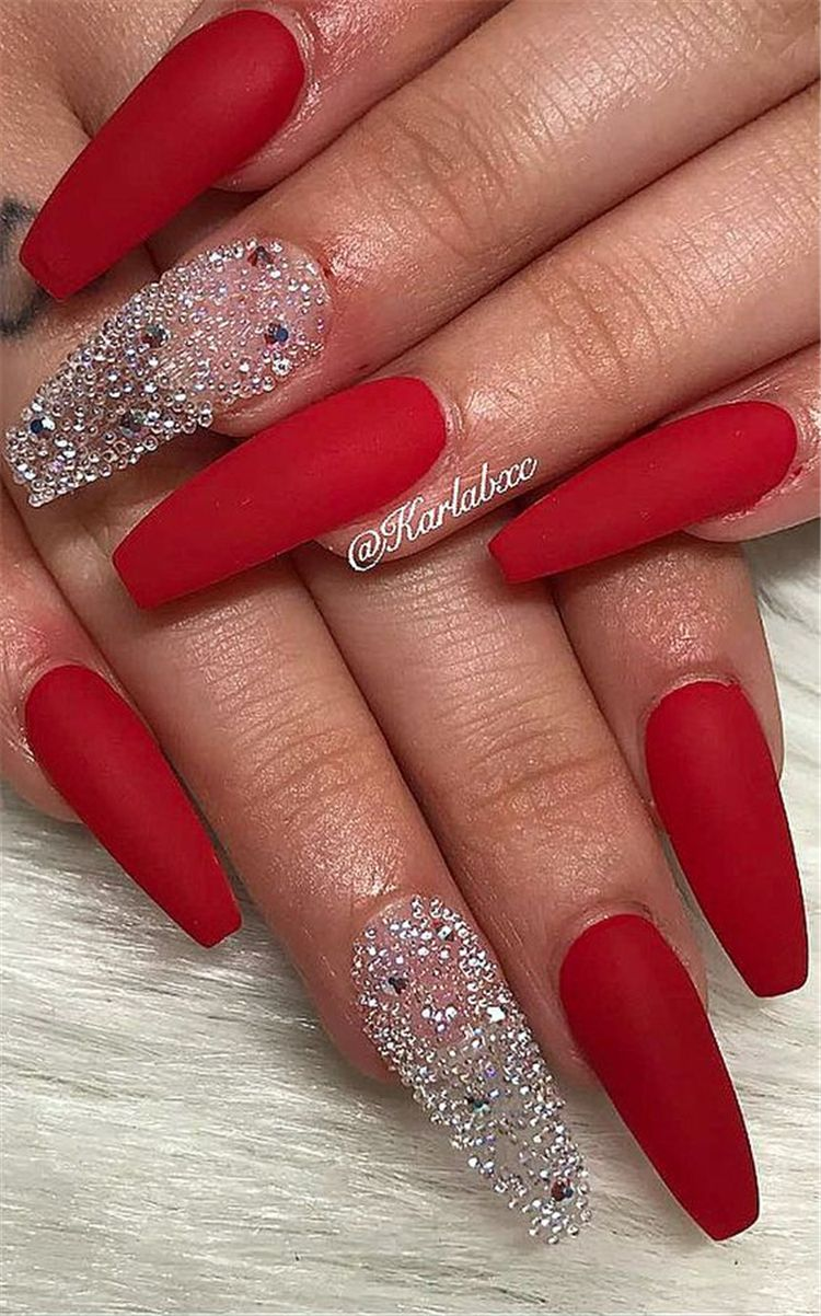 Hottest Red Long Acrylic Coffin Nails Designs Of 2019 Red Long Acrylic Coffin Nails Red Nails Designs Red Nail Designs Red Acrylic Nails Best Acrylic Nails
