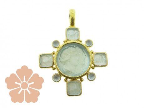 """Elizabeth Locke Venetian glass intaglio """"Double Profile"""" with four """"Quadrato Antico"""" & cabochon stones"""