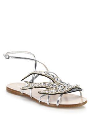 Miu Miu Embellished flat sandals PrQ5Ov