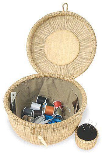 Sewing basket with pin cushion | Basket weaving