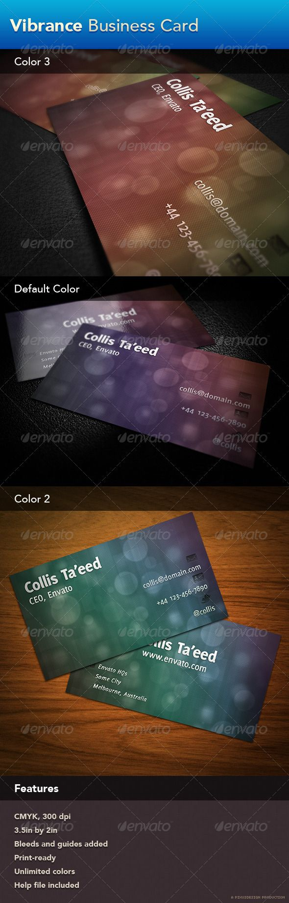 Vibrance Business Card - Corporate #Business #Cards Download here: https://graphicriver.net/item/vibrance-business-card/263159?ref=alena994