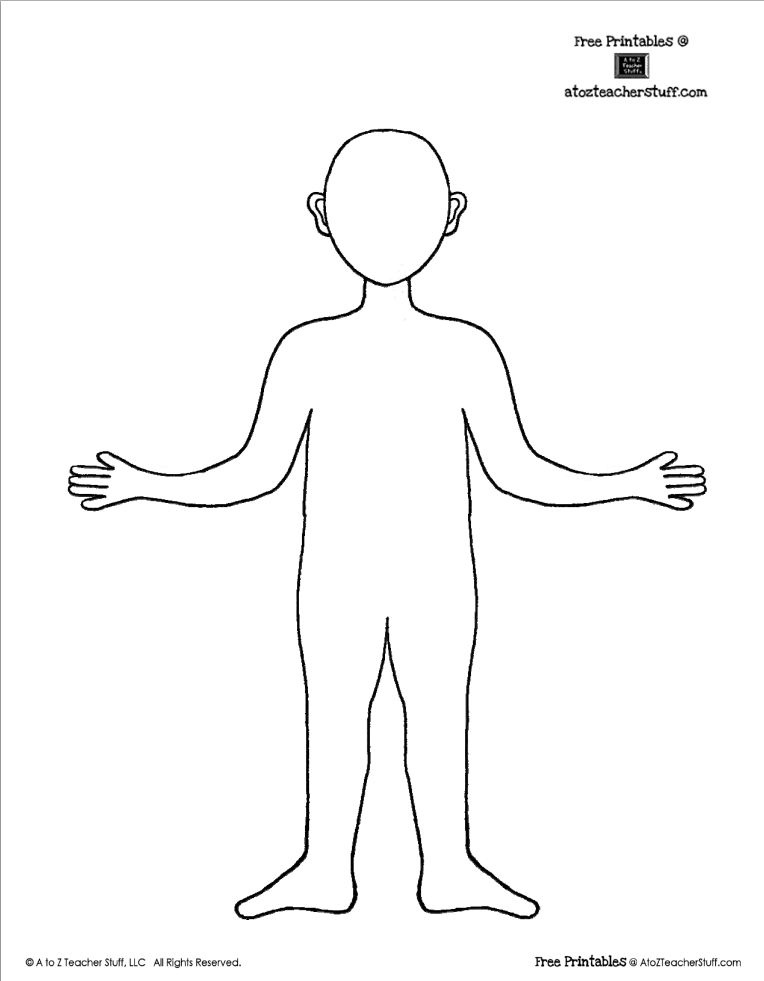 Free Printable Body Outline Template  Teaching Free Printables