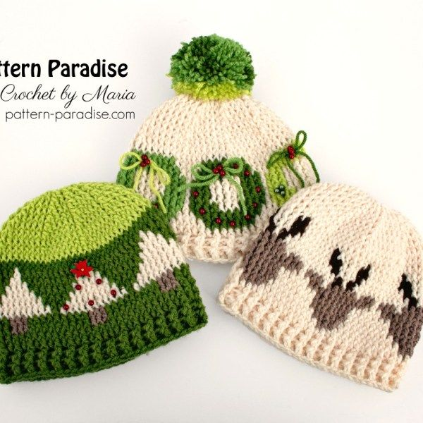 Free Crochet Pattern Graphic Christmas Hats Hooked Hats