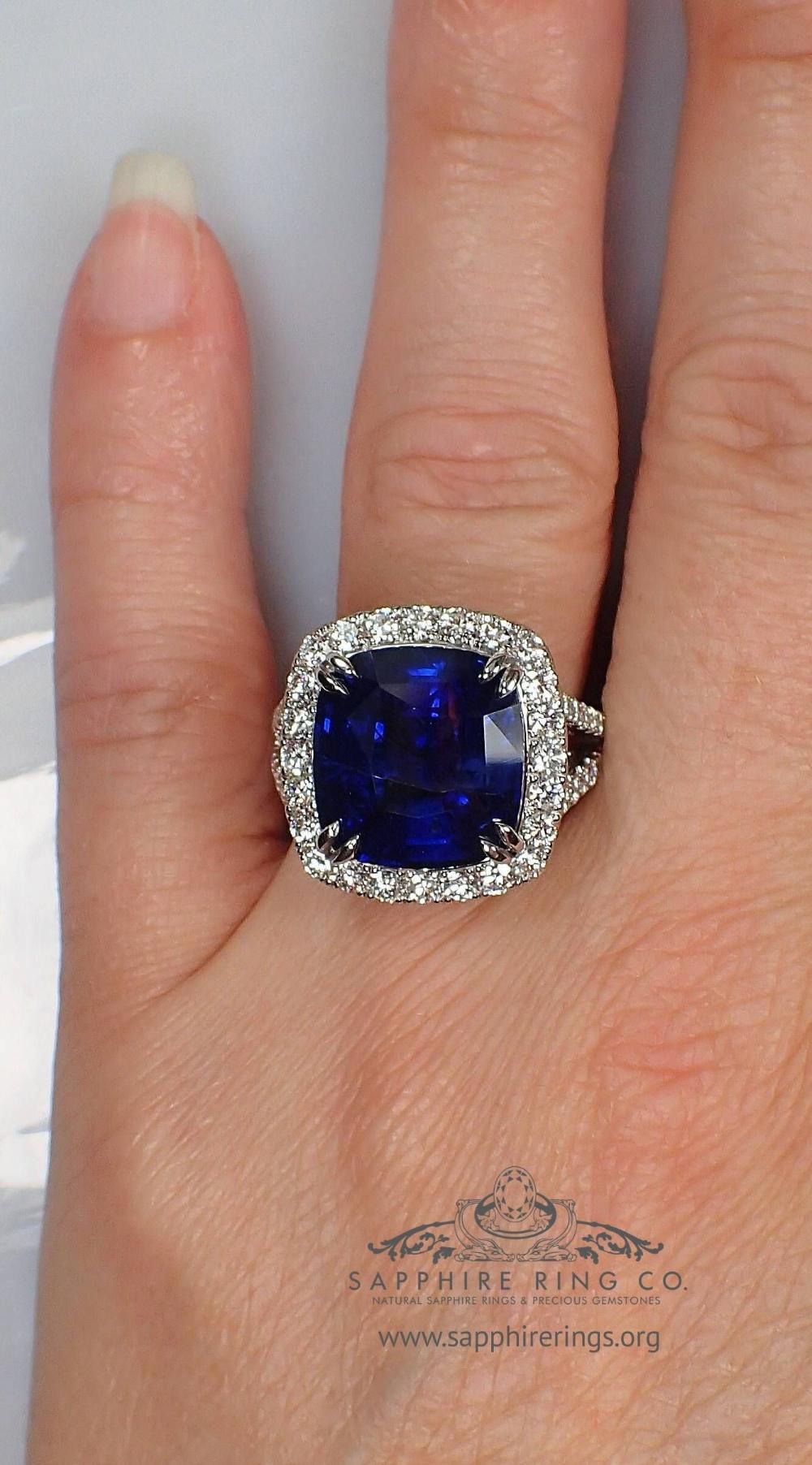 Platinum Natural Ceylon Sapphire Ring 10.51 ct GIA in