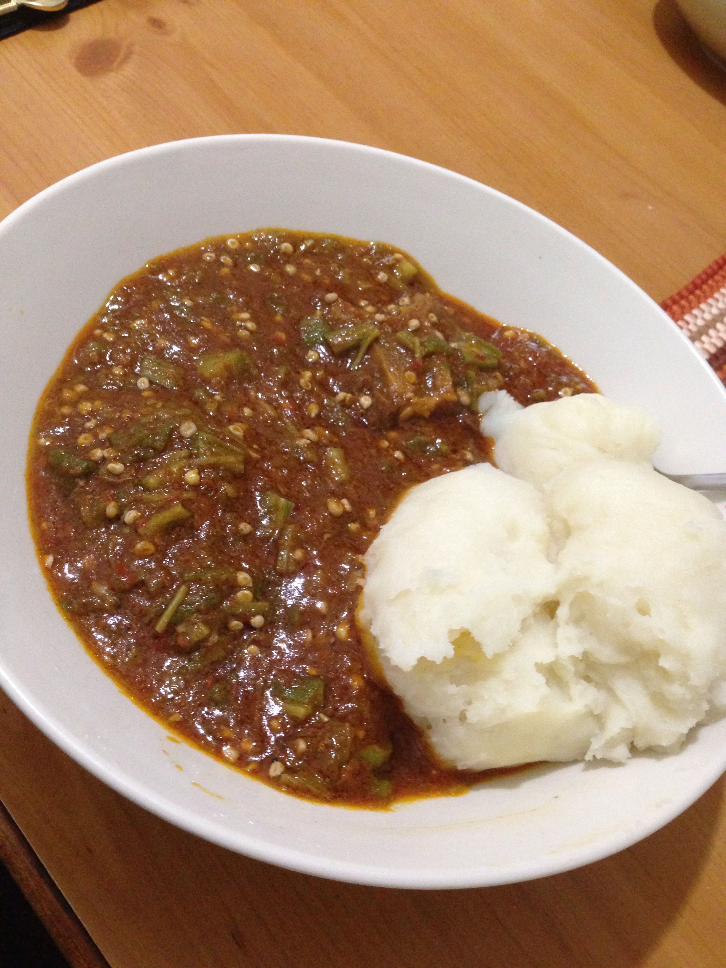 Afrikanische Küche Nigerian Okra Soup And Fufu Pounded Yam Yummy