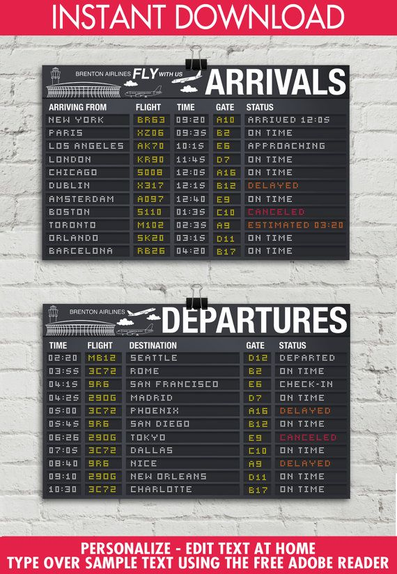 Airplane Party Poster 11x17 Arrival Departure Two Sign Set Airport Terminal Signs Aviator Decor Instant Download Printable Template In 2021 Airplane Party Airport Theme Travel Party