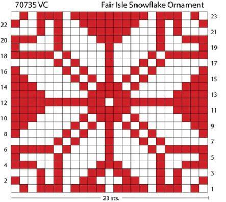 Free Knitting Pattern 70735AD Fair Isle Snowflake Ornament : Lion ...