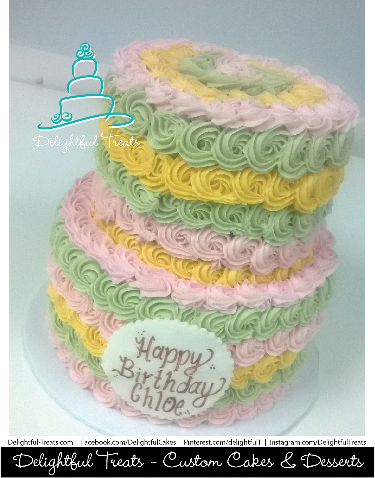 Remarkable Two Tier Buttercream Lime Green Pink Yellow Rosette Birthday Cake Funny Birthday Cards Online Alyptdamsfinfo
