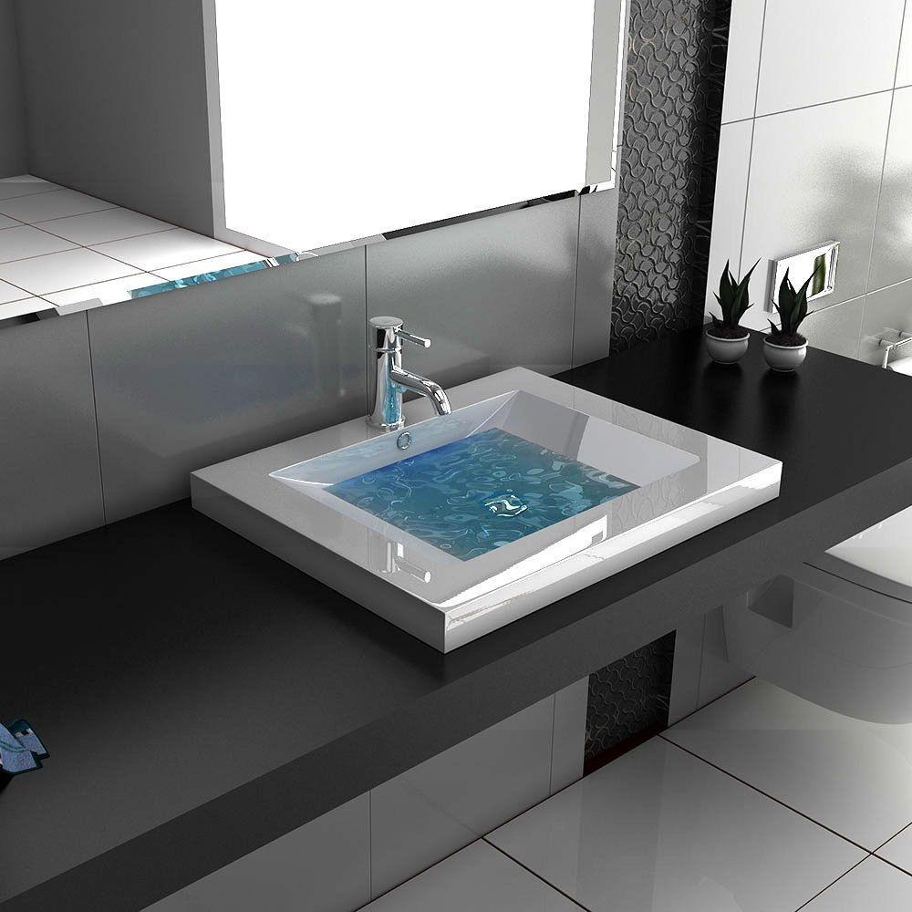 details zu design eckig waschbecken aufsatzbecken waschtisch weiss badm bel handwaschbecken. Black Bedroom Furniture Sets. Home Design Ideas