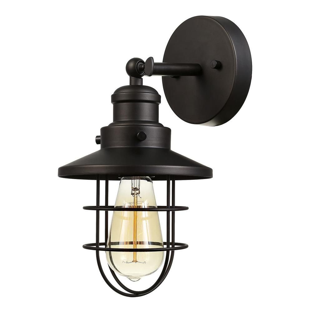 Globe Electric Beaufort 1 Light Oil Rubbed Bronze Sconce 59123 The Home Depot In 2020 Vintage Wall Sconces Bronze Wall Sconce Wall Sconce Lighting