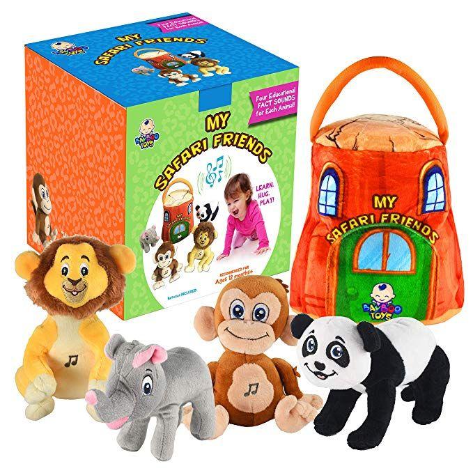 Gift For 1 5 Year Old Educational Plush Toy Talking Animal Set Stuffed Animals Elephant Monkey Lion Baby Toddler Toys Baby Plush Toys Toddler Toys