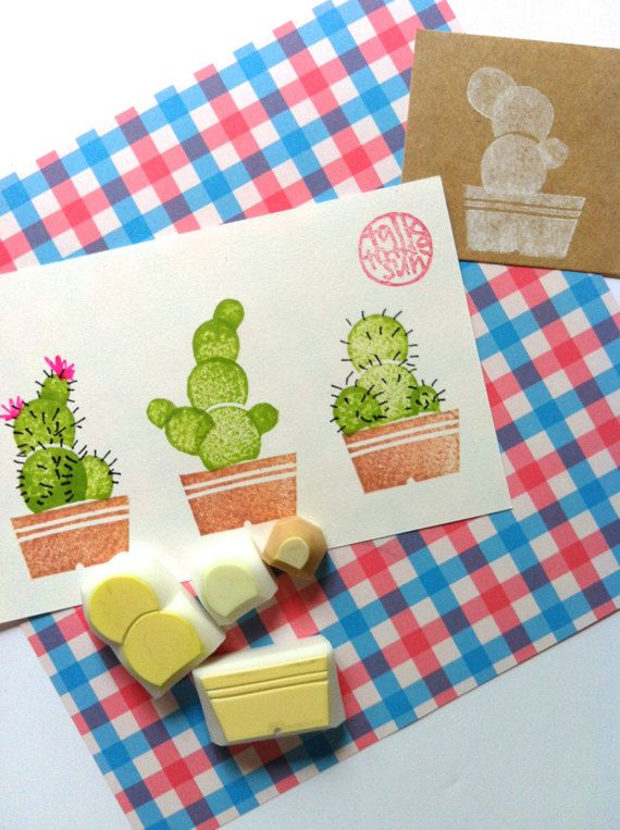 Cactus Rubber Stamp Hand Carved Delightful Garden Set Of 4 No1READY TO SHIP