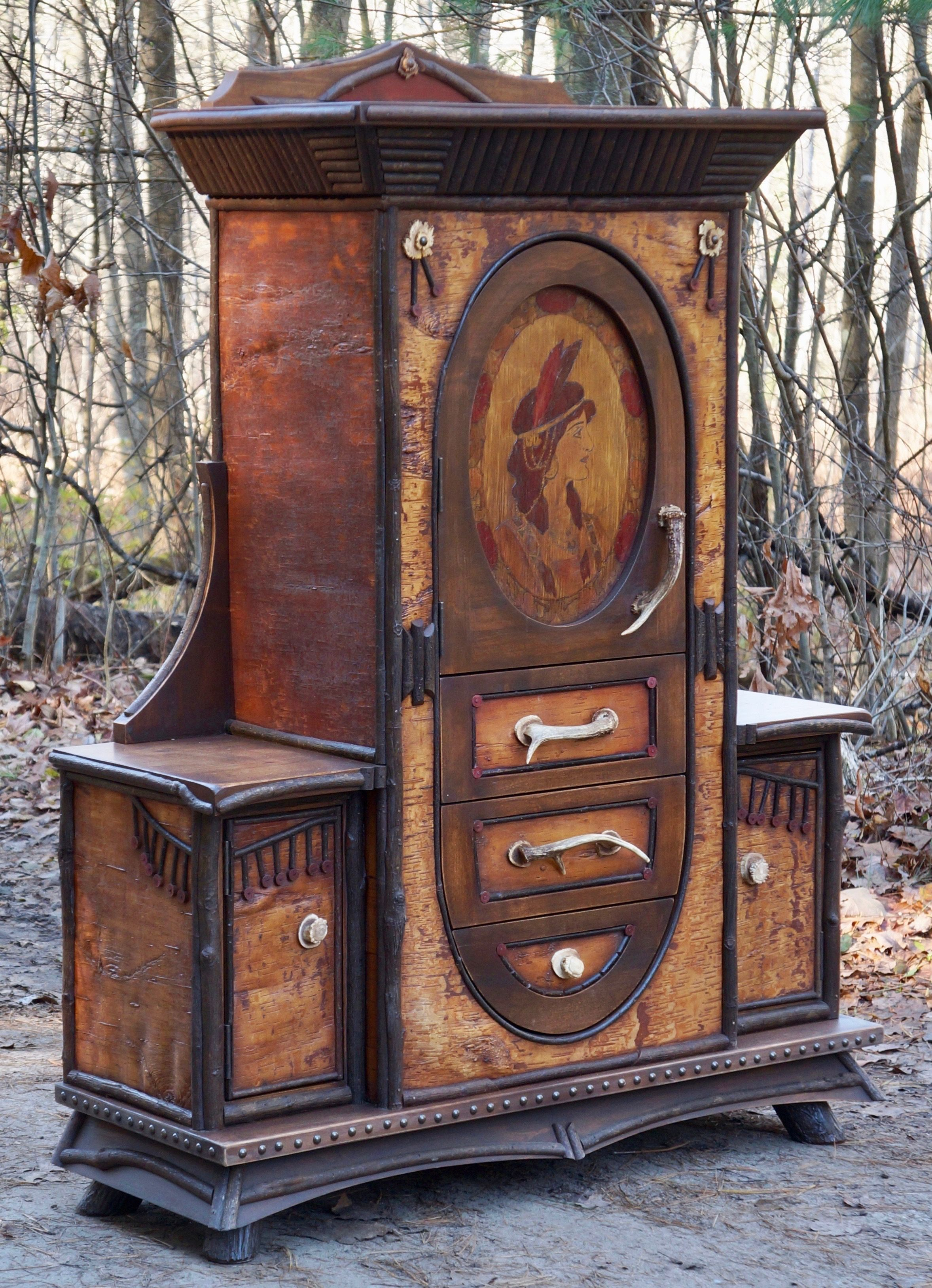 Native American Themed Rustic Cabinet 1920 Pyrography Of Woman With Adirondack Details