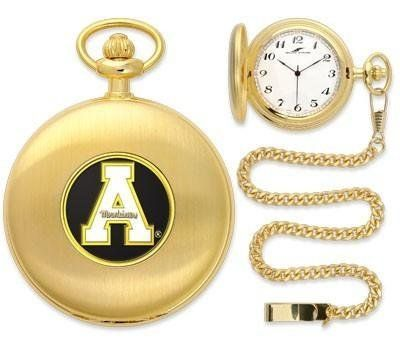 """Appalachian State Mountaineers Pocket Watch by SunTime. $49.95. Unisex Adults. Japanese Quartz-Accurate Movement. 12"""" Chain. Officially Licensed Appalachian State Mountaineers Pocket Watch. Metal Cover. Appalachian State Mountaineers Pocket Watch. The classically styled Pocket Watch is thoughtfully crafted and is a superior quality timepiece. The Mountaineers pocket watch comes with a matching 12"""" chain. The watch features a quartz-accurate Japanese movement to display time..."""
